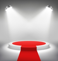 Illuminated festive stage podium scene with red vector