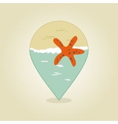 Starfish pin map icon summer beach sun sea vector