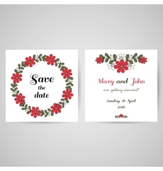 Postcard red wreath vector