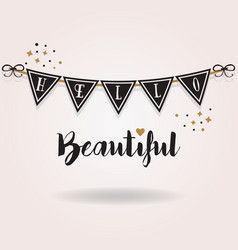 Abstract black and golden hello beautiful banner vector
