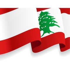 Background with waving lebanese flag vector