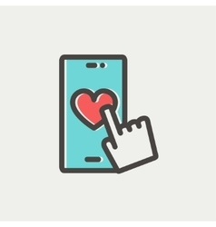 Cellphone with heart thin line icon vector image