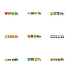 Children train icons set flat style vector