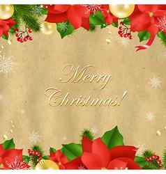 Christmas card with poinsettia vector