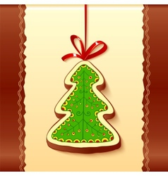 Christmas tree chocolate honey-cake greetings card vector image