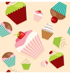 Cute seamless texture with cupcakes vector image vector image