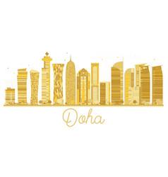 Doha city skyline golden silhouette vector