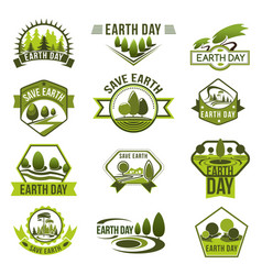 Eco green badge set for earth day design vector