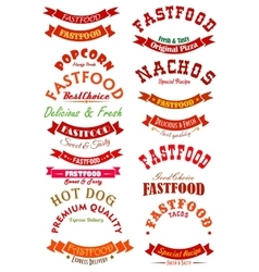 Fast food ribbon banner set for badge design vector