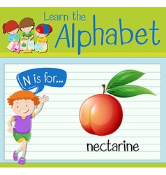Flashcard letter n is for nectarine vector
