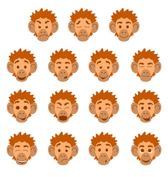 Flat monkey face expressions vector