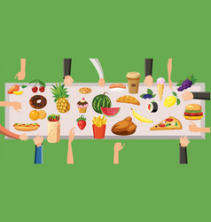food horizontal banner table cartoon style vector image