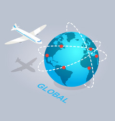 Global spread of e commerce isolated vector