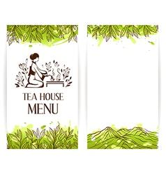 Green tea menu template vector