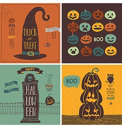 Halloween Cards set - hand drawn style vector image