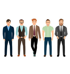handsome men in business formal style vector image vector image