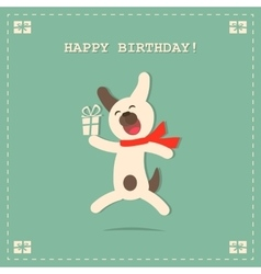 Happy birthday card with dog and gift vector