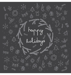 Happy holidays items and sybmol icons card black vector