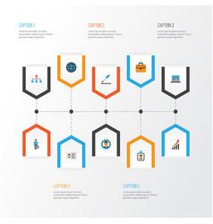 Job flat icons set collection of diagram pen vector