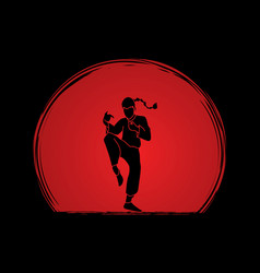 Kung fu fighting drunk action graphic vector