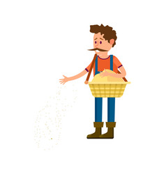 Male farmer seeding icon vector
