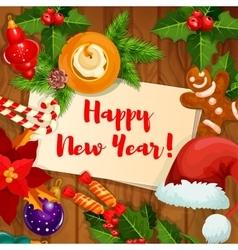 New year holidays greeting card vector