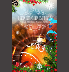Orange christmas bauble with sparkles and fir vector