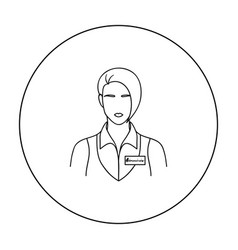 Restaurant waitress with a badge icon in outline vector