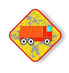 Road sign dump truck vector