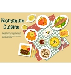 Romanian traditional festive dishes flat icon vector image vector image