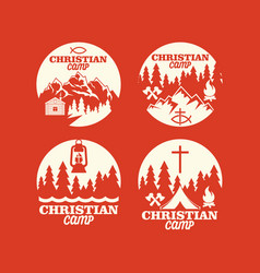 Set of logos of a christian camp vector