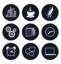 Set of round business icons team work vector