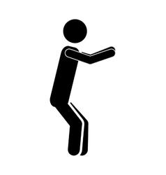 silhouette monochrome man squat icon vector image vector image