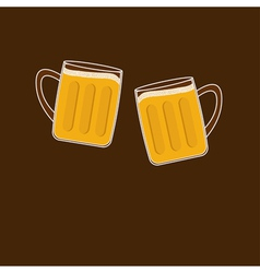 Two clink beer glasses mug with foam cap froth vector