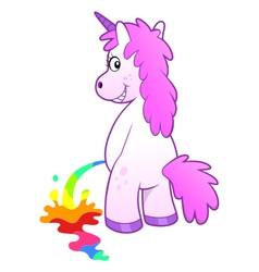Unicorn pissing rainbow vector image vector image