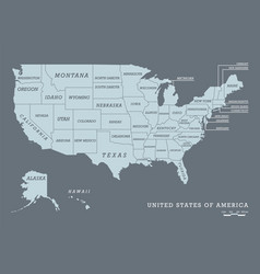 Usa map with name of states vector
