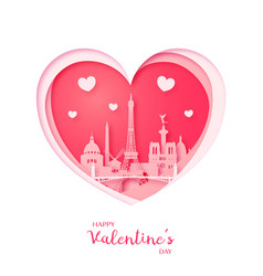 valentines card paper cut heart and paris vector image vector image