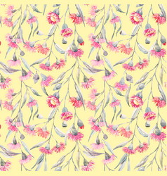 Watercolor eucalyptus pattern vector