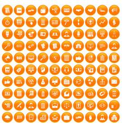 100 business training icons set orange vector