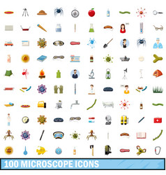 100 microscope icons set cartoon style vector