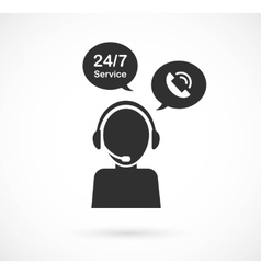 Hotline support service with headphones concept vector