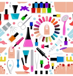 Manicure nail salon seamless pattern vector