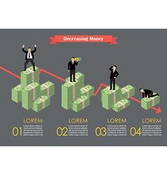 Decreasing cash money with businessmen in various vector image