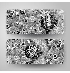 Banner templates doodles coffee theme vector