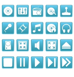 Media icons on blue squares vector