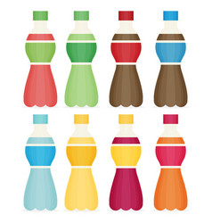 soda water and juice or tea bottles set of vector image