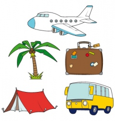 Holidays and travel clipart set vector