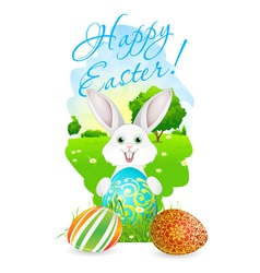 Easter card with landscape rabbit and eggs vector