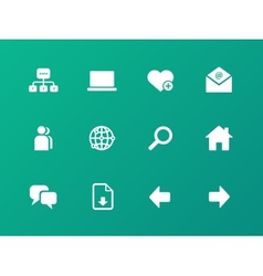 Network icons on green background vector
