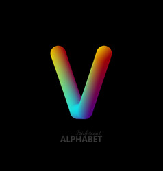 3d iridescent gradient letter v vector